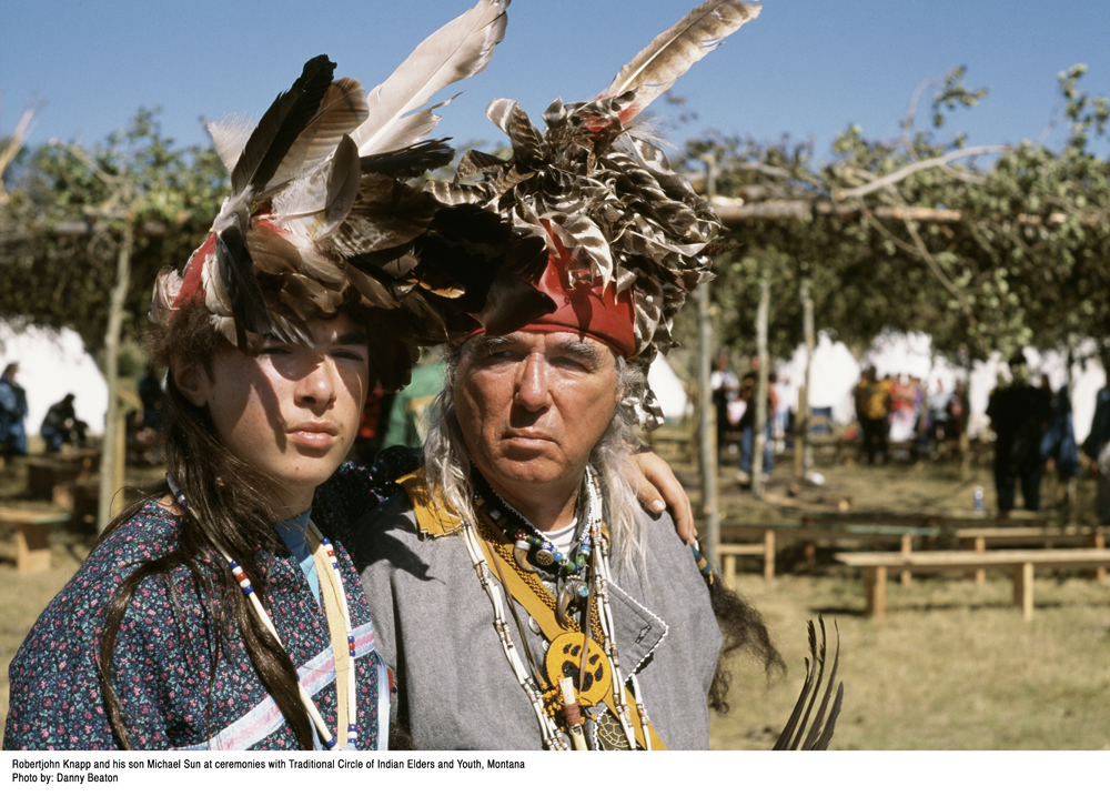 Sundancers Robertjohn Knapp and his son Michaelsun at ceremonies with Traditional Circle of Elders and Youth, Montana. Photo credit: Danny Beaton.