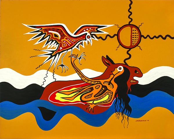 Jackson Beardy, Nanabush Catches the Eagle, 1972, acrylic on board, 81.2 x 101.6 cm. Ermi Tano Collection. © Estate of Jackson Beardy. Photo credit: Don Hall