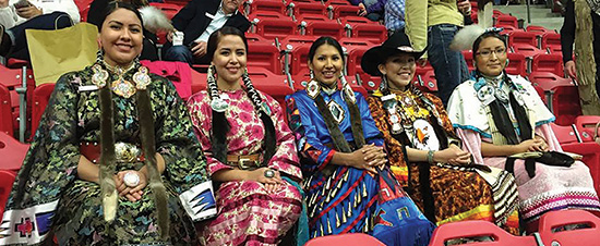 Winner: Vanessa Stiffarm from Blood Tribe (centre). Also pictured, Alicia Maguire from Siksika Nation, Jasmine Crowchief from Siksika/Piikani Nations, Savanna Sparvier from Siksika Nation, and Shay-Lynn Strikes with a Gun from Piikani Nation.
