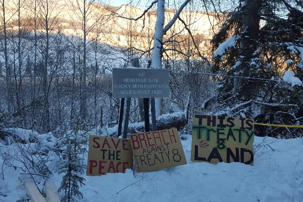 Signs posted at Rocky Mountain Fort Campsite in the Peace River Valley.