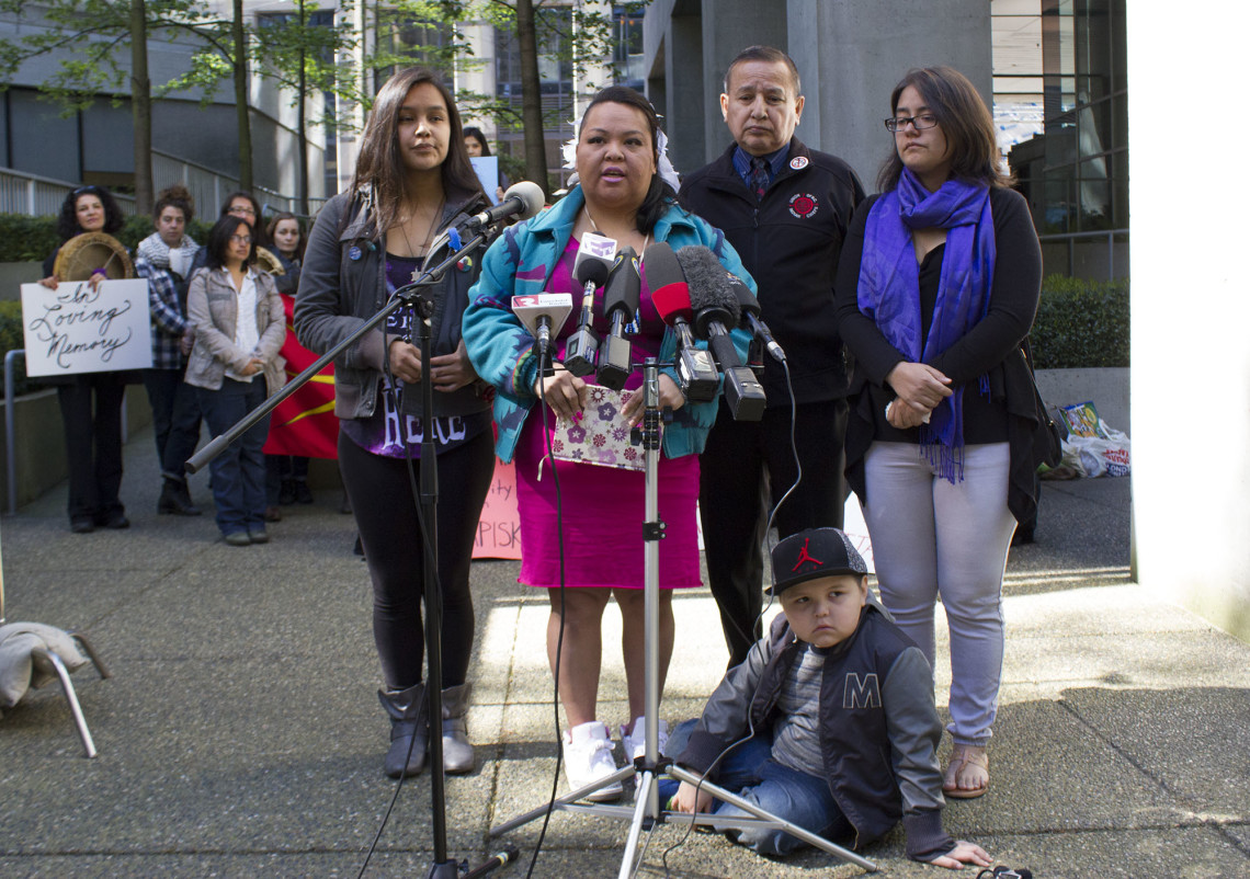 Occupy INAC Vancouver organizers announcing the end of the protest and the meeting with federal ministers. From left: Valeen Jules, Jerilyn Webster, Grand Chief Stewart Phillip, Webster's son, Sequoia, and Crystal Smith.  Photo by Sophie Woodrooffe