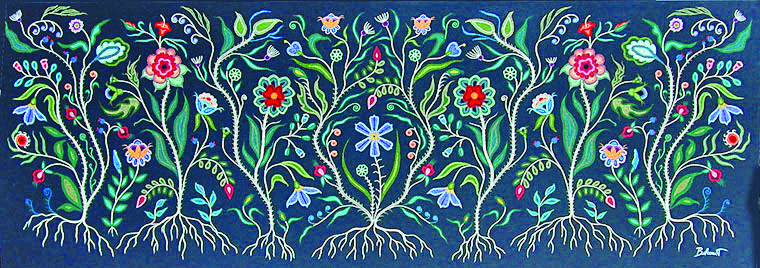 An example of Christi Belcourt's beadwork-painting style.