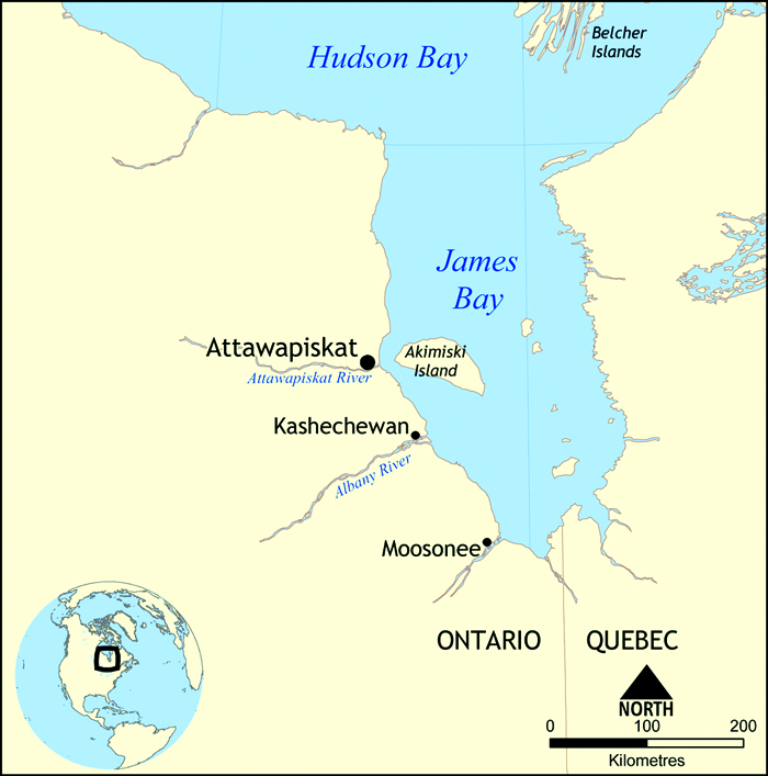 Map of James Bay showing Attawapiskat