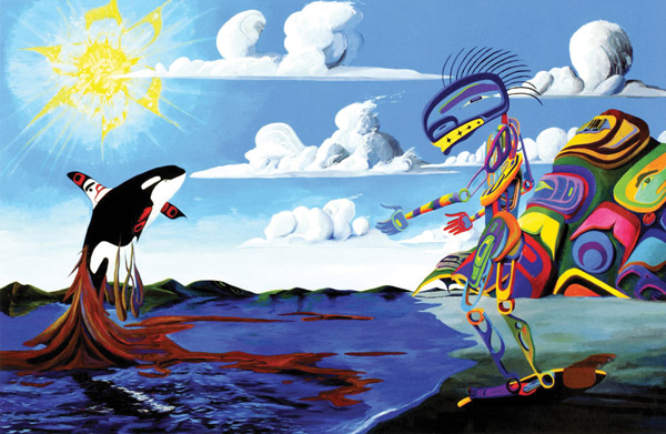 Killer Whale Has a Vision and Comes to Talk to me about Proximological Encroachments of Civilizations in the Oceans, 2010 acrylic on canvas 280 x 184 cm.