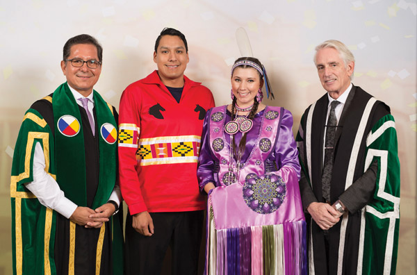 From Left to Right: Blaine Favel (Former Chancellor, University of Saskatchewan), Adrian Waskewitch (Dana's husband), Dana Carriere, Peter Stoicheff (President and Vice-Chancellor, University of Saskatchewan)