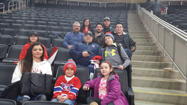 Part of the Northern Saskatchewan Group attending Canadiens practice