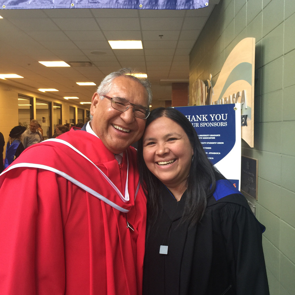 David Tuccaro and Marcia Trudeau-Bomberry at June 2016 convocation. Tuccarro received an honorary doctor of laws.