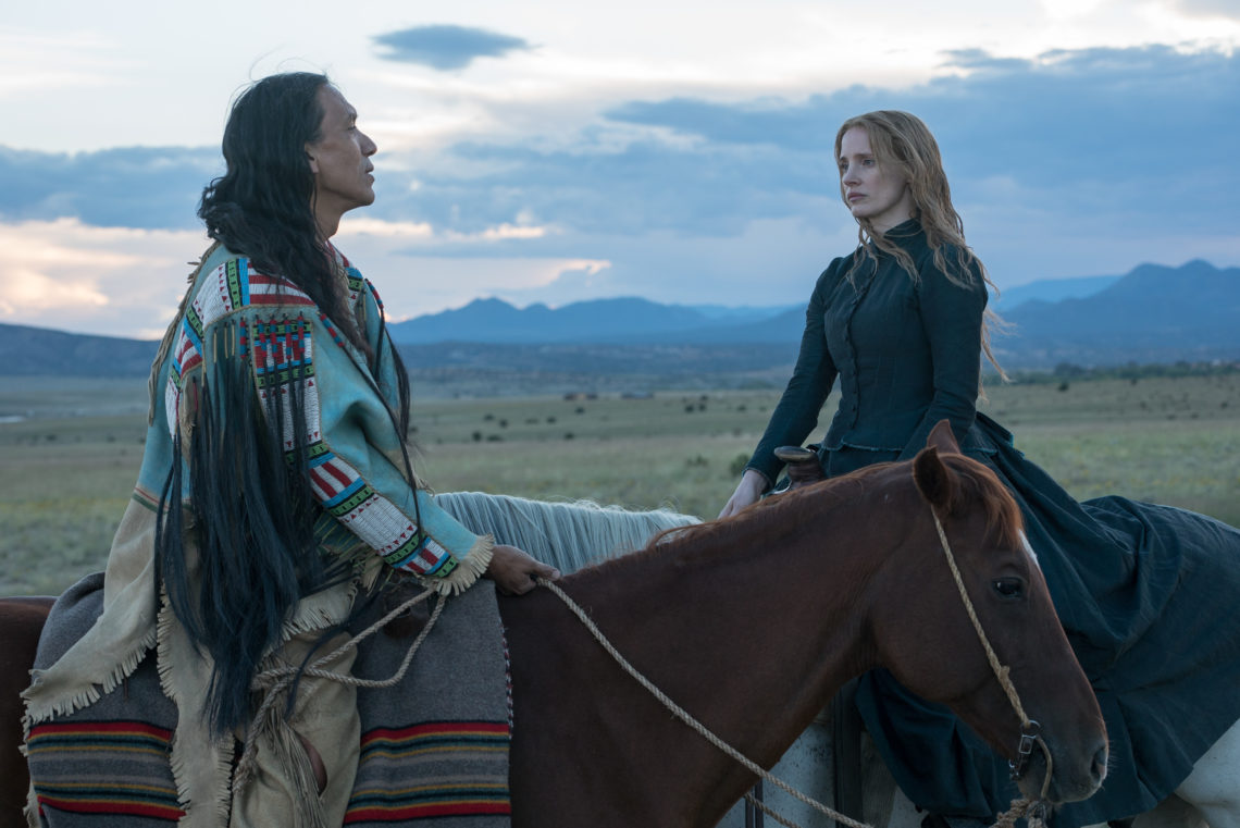 Michael Greyeyes and Jessica Chastain in Woman Walks Ahead